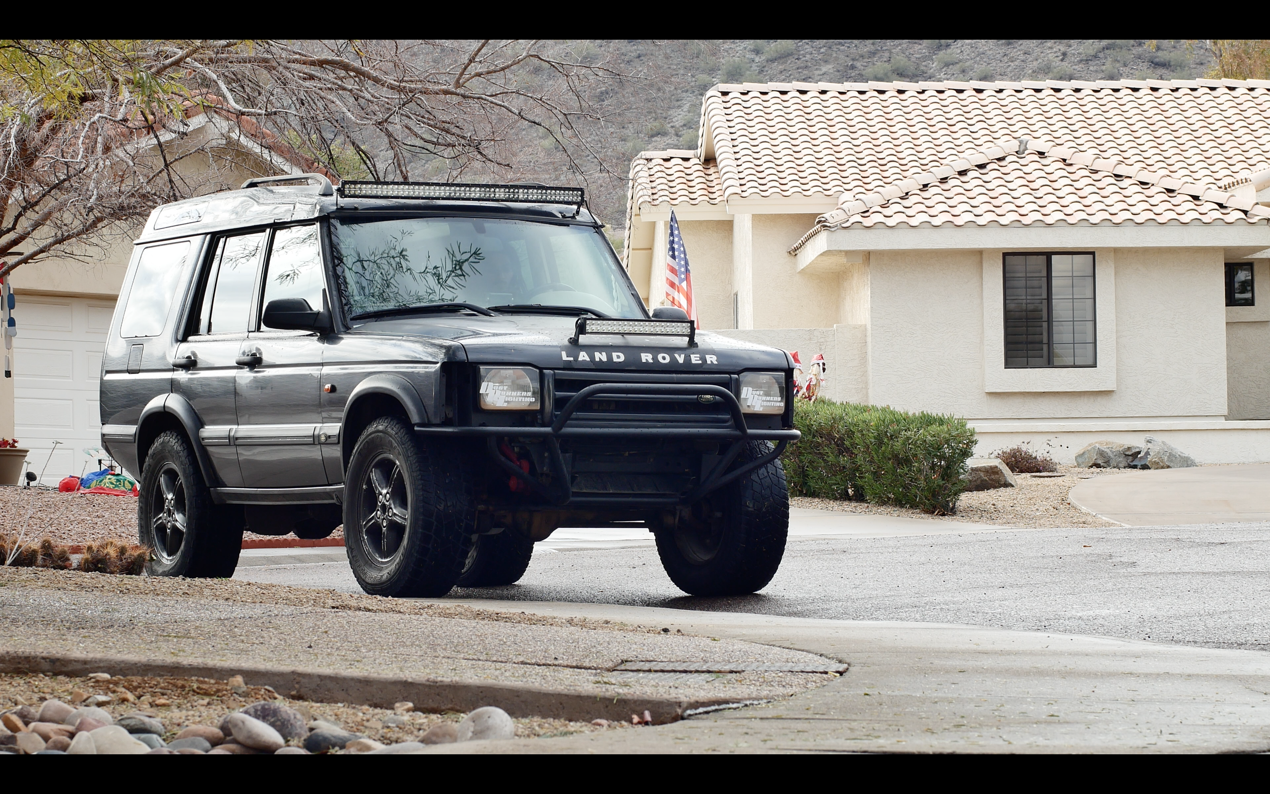 discovery ii light bars dust runners tube bumper 4x4 lifted ome old man emu